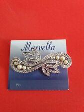 Marvella Diamante Crystal Brooch Pin Bouquet Silver Bow Bridal