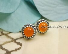 NEW Authentic PANDORA Silver BIRTHDAY BLOOMS Stud Earrings July Carnelian RETIRE
