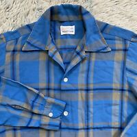 Brent Vintage 50s Small Blue Plaid Loop Collar Shirt Rayon Square Rockabilly Gab