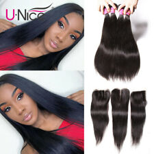 UNice Hair Indian Straight Human Hair Weave Bundles With 4x4 Lace Closure 4 Pcs
