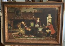 VINTAGE FRAMED ART SLEIGHT OF HAND WILLIAM BIRNEY CARD MAGIC TRICK LARGE REOFECT
