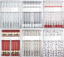 3 Piece Kitchen Window Curtain Panel Tiers & Valance Set - Various Designs