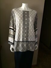 "NWT The Limited Black White Taupe Geometric Design Pullover Tunic Top L (46""B)"