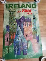 Vintage Ireland Colorful Castles TWA Airline Travel Poster By David Klein