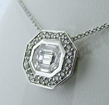 GORGEOUS 14 CT WHITE GOLD FANCY CUT AND ROUND DIAMONDS NECKLACE