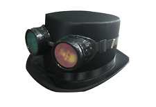 Vintage Steampunk Cyber Retro Skull Goggles & Black Top Hat Hot Punk Accessory