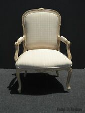 Vintage French Provincial Carved Wood Off-White Accent Chair