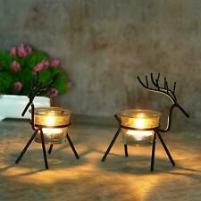 Christmas Reindeer Candles Holder -2 Pieces (Black) Shape Tealight