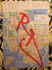 RD357 GRAFFITI sur plan de métro NYC /Subway Map/quik/seen/futura/taki/cope2/tag