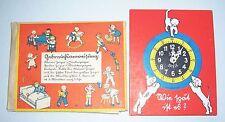 Alte Kinder Lernuhr von JSU Spiele Ernst Kutzer ? um 1930 !