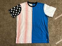 ASICS Tiger Happy Chaos Split T-Shirt Size L Large Blue Tokyo Japan Kayano