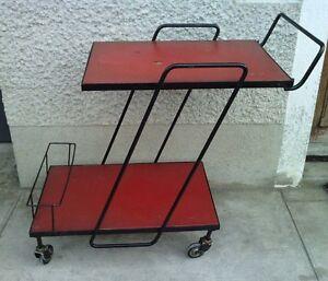 table roulante desserte design 1950/60 metal noir trolley bar