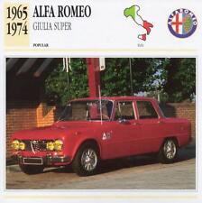 1965-1974 ALFA ROMEO GIULIA SUPER Classic Car Photograph / Information Maxi Card