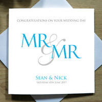 Personalised Handmade Wedding Day Card Mr and Mr - Groom, Same Sex, Gay & Civil
