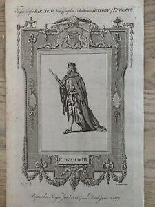 1785 King Edward III Of England Original Historical Copperplate Engraving