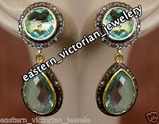Retro Vintage 2.29cts Rose Cut Diamond Blue Topaz Studded Silver Jewelry Earring