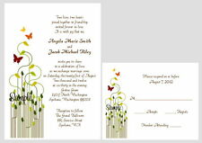 100 Personalized Custom Butterfly Wedding Invitations Set