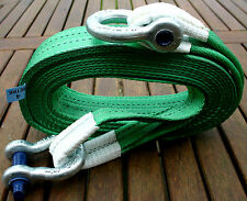 4x4 RECOVERY WINCH/TOW ROPE STRAP 4M TREE STROP 14 TON  2x 3.25T TESTED SHACKLES