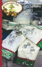 "Embroidery Pattern ~ ""Snowflake Gang"" Dish Towels - Crab-apple Hill Designs"