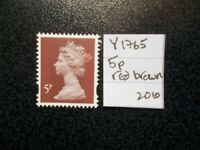 GB 2010~ Machin~5p~SG Y1765~2 Bands~Red Brown~Unmounted Mint~UK