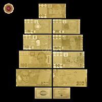 WR 9pcs Ukraine 1-500 UAH Gold Foil Banknote Paper Bill For Value With COA