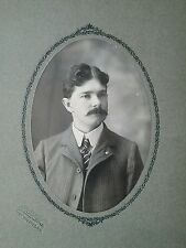 Antique Victorian American Handsome Man Handlebar Mustache Cabinet Card Photo