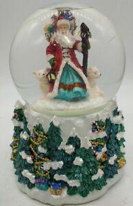 Vintage Musical Rotating Christmas Santa walking in snow forest bears Snowglobe