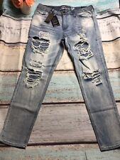 Seven 7 Women's Size 10 Girlfriend Worn & Torn Denim Light Wash Jeans NWT