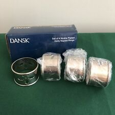 Dansk Christmas Nickel Plated Holly Napkin Rings Set of 4 in Box Holiday Table