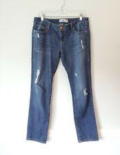 CABI womens size 8 Slim Boyfriend distressed mid rise cotton denim jeans