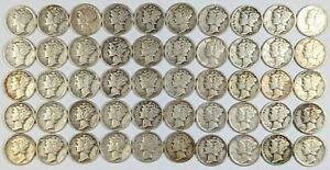 Roll of 50- Mixed Dates Mercury Silver Dimes 187438B