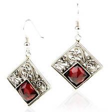 Stunning New Sterling Silver Square Filigree Drop Dangle Earrings Red Garnet Gem