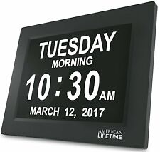 American Lifetime Large Impaired Vision Digital Day Clock 5 Alarm options Black