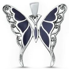 Filigree Design Black Onyx Butterfly .925 Sterling Silver Pendant  Necklace
