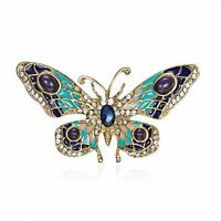 Womens Lovely Crystal Rhinestone Butterfly Animals Brooch Pin Charm Jewellery