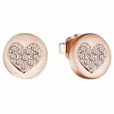 Butterfly Fastening Heart Rose Gold Costume Earrings
