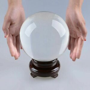 LONGWIN 150mm Clear Crystal Ball Sphere Photography Props Free Stand Home Decor