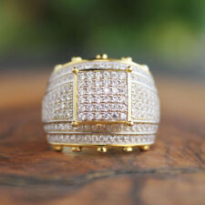 Mens 14K Yellow Gold Finish 4.00 Ct Round Cut Diamond 3D Pinky Engagement Ring