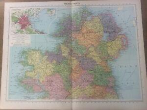 Vintage Antique 1939 Philips Map 20x15 Rep of Ireland Dublin & Northern Ireland