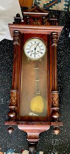 Large Antique German Vienna Regulator Wall Clock - Ornate Case/Pendulum