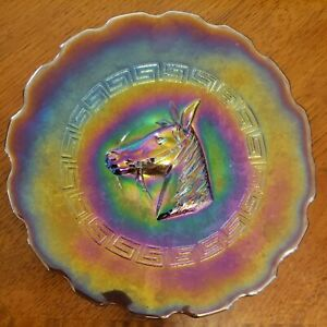 RARE  Carnival Glass Pony Plate, Purple/Amethyst