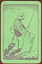 Playing Cards 1 Swap Card Old Vintage Art Deco MAN FLY FISHING FISHERMAN Silver