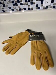 New Timberland Mens Nubuck Soft Leather Touch Screen Technology Gloves Wheat L