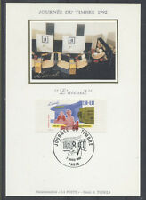 FRANCE FDC - 1992 4 JOURNEE DU TIMBRE - 2744 - PARIS - SUR CARTE POSTALE soie