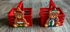 2 Wood Mini Crates With Bears : New : Bear With Drum, Bear With Ball
