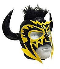 PSICOSIS (pro-fit) Adult Lucha Libre Halloween Wrestling Mask - Black/Orange