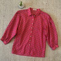 VTG 80s Pink Black Triangle Abstract Print 100% Wool Button Up Shirt Jaeger M ?