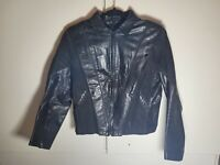 Vintage Black Leather and Canvas Michael Jackson Style Jacket Stratege 7 8 Small