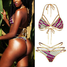 Women Triangle Bikini Push-up Padded Bra One Piece Monokini Swimsuit Swimwear US