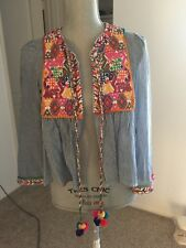 ZARA Striped blue Embroidered Jacket Blazer Shirt With Tassels Size XS